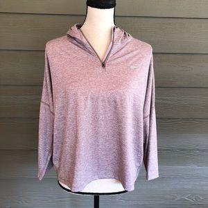 NIKE dry-fit Gray Crop Front 1/4 zip Hoodie top XL